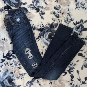 Mudd Flex Stretch Dark Wash Distressed Jeans Sz 0